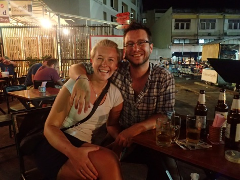 Tim and Gyda sat by Krabi Town night market