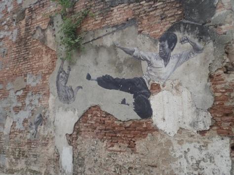 Bruce Lee kicks a cat