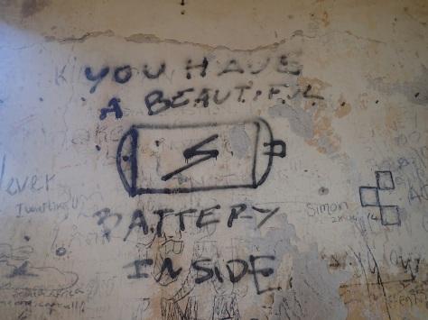 Weird graffiti in a church in Kampot