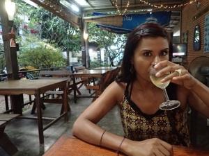 Wine ina little restraurant, Vientiane