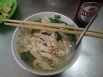 Amazing strips of chicken in a Hanoi soup