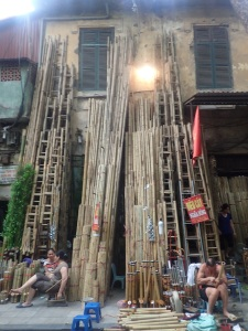 Bamboo ladder street in the Old Quarter Hanoi