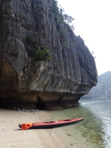 Beached kayak in Ha Long Bay