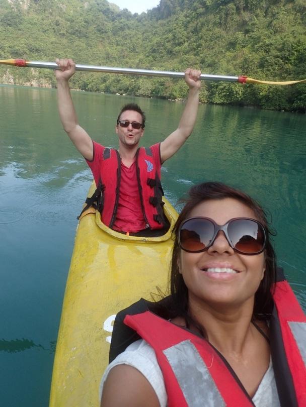 Kayaking around Ha Long Bay