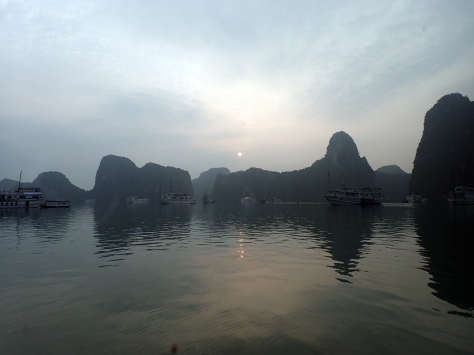 Watching the sun rise over Ha Long Bay
