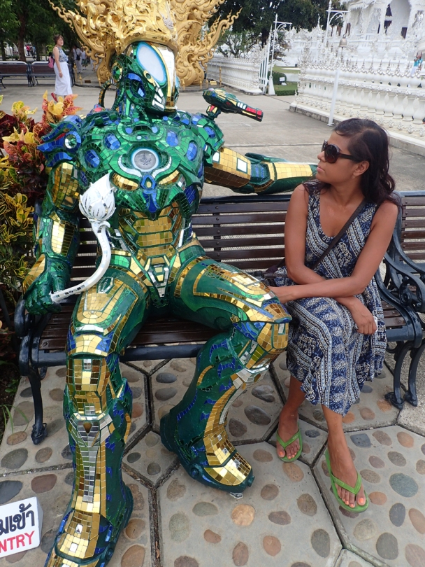 Strange robot on a bench at the White Temple